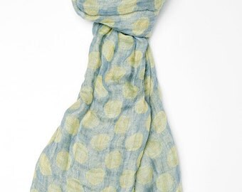 Linen scarf, blue scarf, polka dots scarf, 100 % linen scarf, pure linen scarf, summer scarf, women scarf, linen shawl, linen wrap