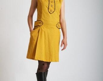 Yellow dress//Mustard//Woman dress//Vintage inspired dress//60s dress//Retro clothing//Polkadot//Women dress///Coton Dress//MAJORETTE YELLOW