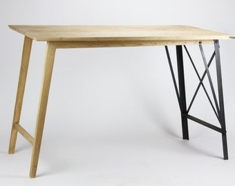 INDUSTRIAL 'Half and Half' Desk Table [Custom sizes!] Vintage chic writing computer office