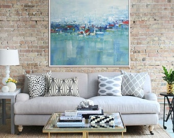 Abstract Painting, Original Artwork, Abstract Canvas Painting, Modern Art, Contemporary Seascape, Blue Green Red
