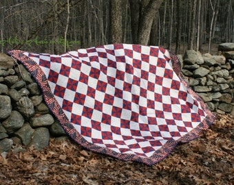 Red, White & Blue Full/Queen Quilt, Patriotic Patchwork - Handmade, ready to ship!