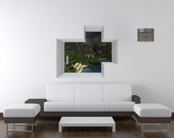 Minecraft Wall Decal Etsy - 3d minecraft wall decals