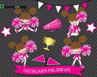 Pink Cheerleader, cheerleader pink Clip art set.