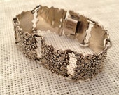 925 Silver Link Bracelet Made in Mexico 7 Inches Scroll Design on 7 Squares Linked Together