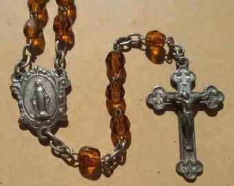 SALE - Vintage Rosary Necklace  - Glass Beads - Maria - Orange
