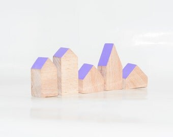 Miniature wooden houses. Set of 5 pieces. The small village for home decor