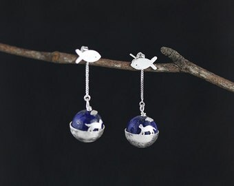 Cat and Fish Earring Little Earth Shape Lapis ball Lariat Fish Charm Sterling Silver Drop Earring Women Earring
