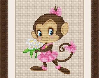 "Cross stitch pattern ""Monkey with flowers"""
