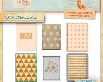 36. digital cards for Scrapbooking, craft, crafts, life journal. PNG + jpg.