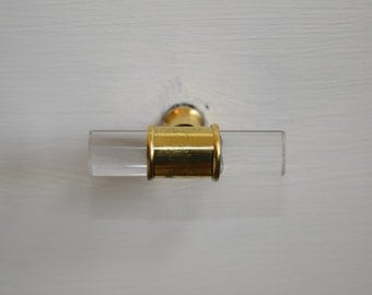 Glass Drawer Knobs Handles With Gold Hardware, Gold Drawer Pulls, Lucite Knobs, Lucite Drawer Knobs, Glass Knobs, Gold Knobs