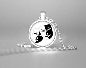 DRAMA MASKS NECKLACE Drama Masks Jewelry Drama Masks Pendant Drama Teacher Gift Drama Masks Charm Masks Necklace Drama Student Necklace Gift