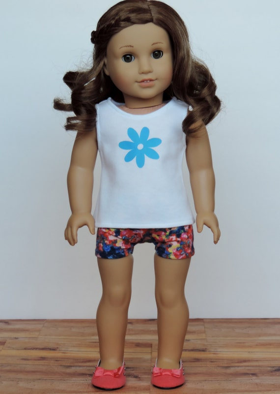 Upcycled Floral Knit Shorts - American Girl Doll Clothes