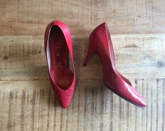 Vintage Red Almond Toe Pumps