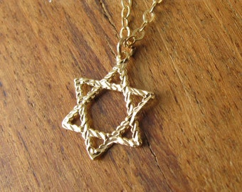 Gold necklace, Gold Jewish, Star of David Necklace, Jewish jewelry, dainty necklace, Star of David, 14kt gold Filled chain
