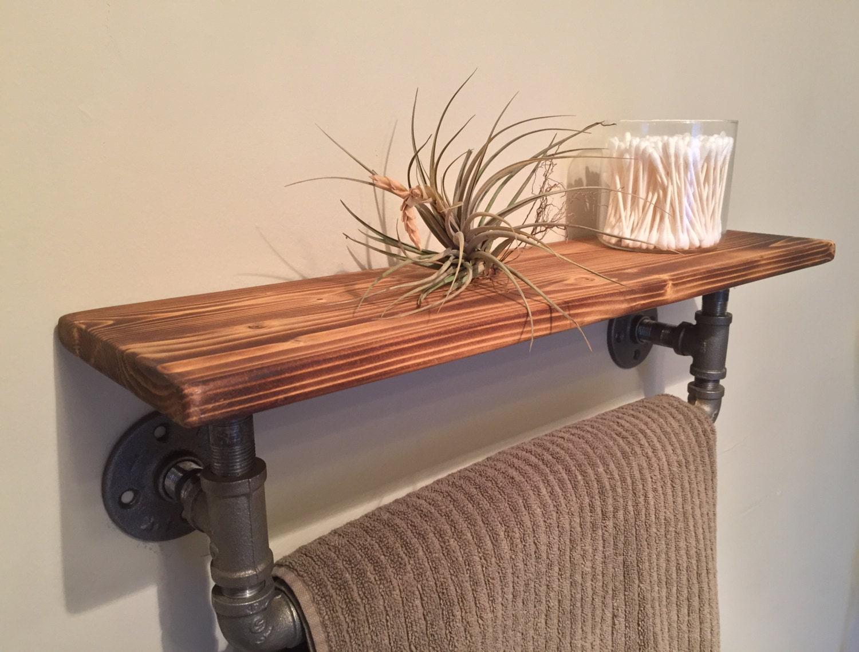 industrial pipe towel bar with wood shelf. Black Bedroom Furniture Sets. Home Design Ideas