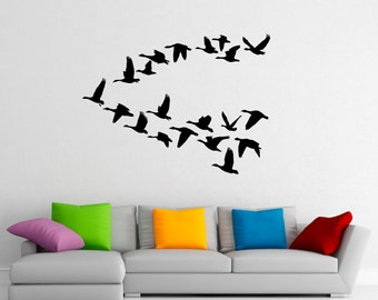 Flying Birds Wall Decal Flock Of Birds Decals Vinyl Stickers Animals Interior Design Art Murals Housewares Bedroom Wall Decor (2b01s)
