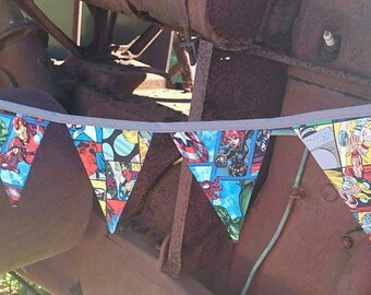 Fabric Bunting - Avengers Theme - 235cm long - 12 double sided flags