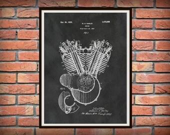 Patent 1919 Harley Engine - Poster - Wall Art - Harley Davidson - Bike - Motor Bike - Hells Angels - Gift Idea - Man Cave - Harley Club Art