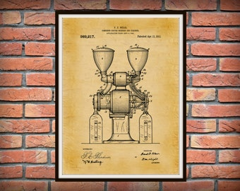 Patent 1909 Coffee Grinder Patent - Wall Art - Coffee Mill - Restaurant Wall Art - Coffee Shop Wall Art - Tea House