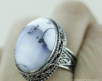 Size 8 - DENDRITIC Agate Opal 925 S0LID (Nickel Free) Sterling Silver Vintage Setting Ring & FREE Worldwide Express Shipping R1719