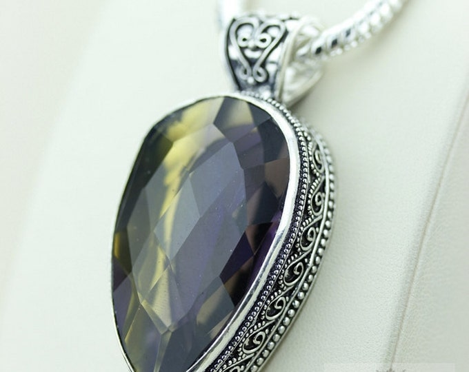 Stunning 72 Ct Irradiated AMETRINE 925 S0LID Sterling Silver Vintage Style Setting Pendant + 4mm Snake Chain & Free Worldwide Shipping p2580