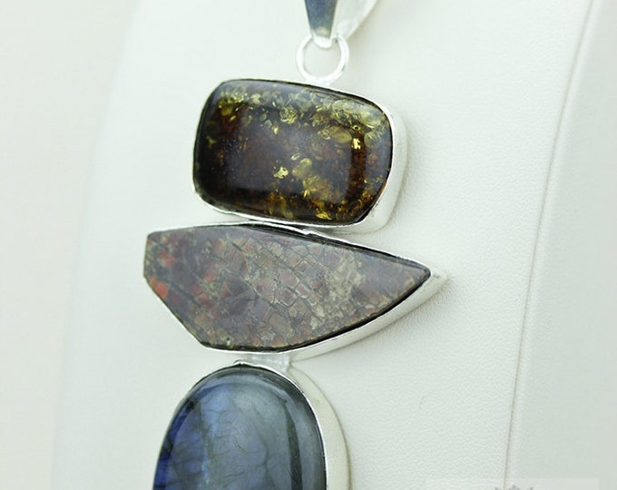 4 Inch BALTIC AMBER LABRADORITE 925 S0LID Sterling Silver Pendant + 4mm Snake Chain & Free Worldwide Express Shipping a25