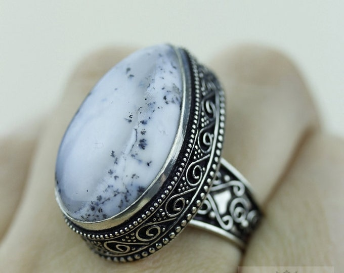 Size 8 - Dendritic DENDRITE Agate 925 S0LID (Nickel Free) Sterling Silver Vintage Setting Ring & FREE Worldwide Express Shipping R1717