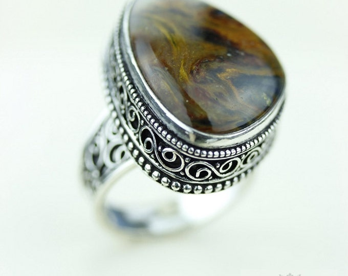 Size 8 - Namibian PIETERSITE 925 S0LID (Nickel Free) Sterling Silver Vintage Setting Ring & FREE Worldwide Express Shipping R1737