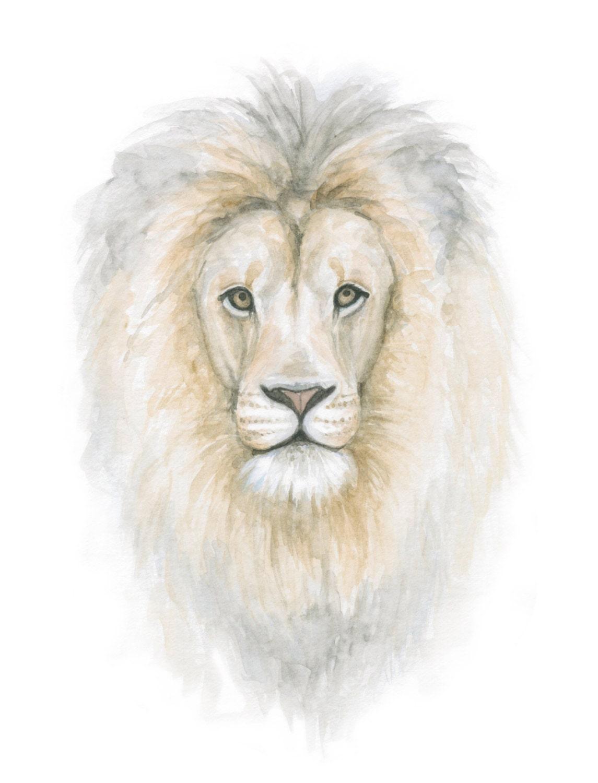 Watercolor Lion Head