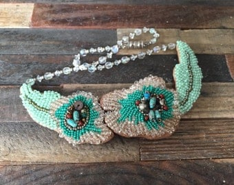 Artsy Beaded & Leather Choker Statement Necklace