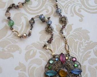 Vintage necklace repurposed jewelry for special occasions           coloured glass rhinestone repurposed , handcrafted and bespoke jewelry
