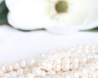 """9-10mm Freshwater Pearl - 13.5"""" Strand Beads - White Pearls Cultured Pearls - Wedding Jewelry Supplies - Bridal Beads Potato Pearls / PB-006"""