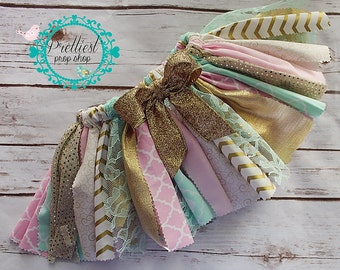 Scrappy Skirt, Fabric Tutu, Cake Smash, First Birthday, Second Birthday, Photo Prop, Pink-Mint-Gold