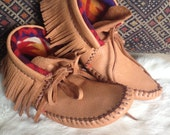 Handcrafted Adult Moccasins with Pendleton Fabric Lining