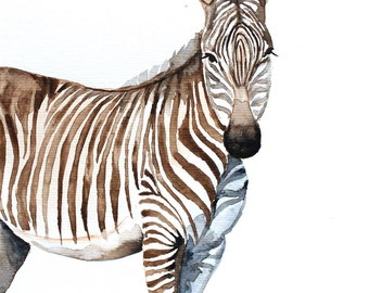 zebra original watercolor painting zebra painting Africa animals painting  21x28.2cm (8,4x11.28in)