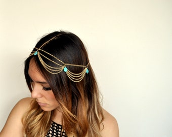 Boho Chic Chandelier Head Chain Hair Jewelry -Gold/Turquoise