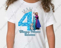 Custom Fourth Birthday Girl Frozen IMAGE Use as Iron On Clip art Disney T-shirt Printable Digital Download Elsa Anna Olaf Party Favor DIY