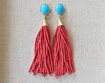 Turquoise Coral Beaded Tassel Earrings