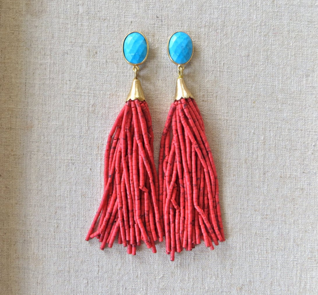 turquoise coral beaded tassel earrings by straine on etsy
