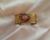 Victorian Brass Filigree Matte Rose Quartz Cuff Bracelet