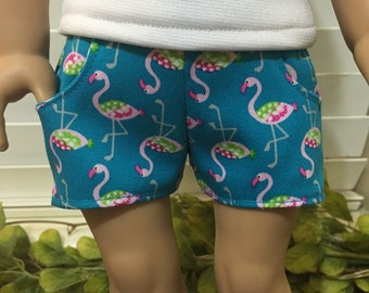 Flamingo Shorts. 18 inch doll clothes. Fits American Girl doll