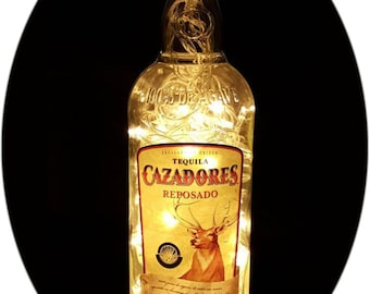 Upcycled Cazadores Tequila Mood Therapy Liquor Bottle Light with Warm White L...