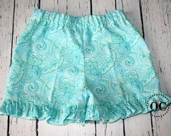 Girls Ruffle Pants, Capri Pants, Ruffle Shorts, Boutique Pants, Ruffle Pants Outfit, Summer Clothes, Paisley Pants, Birthday Outfit, Beach