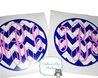 Chevron Monogram Vinyl Decal, Custom Vinyl Sticker, Car Decal, Personalized 3 letter monogram, self applied monogram, personalized decal
