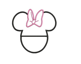 Minnie Mouse Applique Embroidery Design - 4 sizes Instant Download