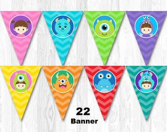 Monster Banner, Monster Bunting, Monster Inc Banner, Monster Inc Bunting