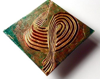 Original Floating Panel Contemporary Metallic Gold Textured Abstract Art by Joyce Manett