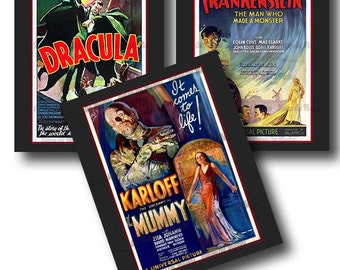 Vintage Horror Movie Posters  - Retro Sci Fi Monster Classic Prints - Ready To Hang Traditional Wall Art - Set of 3