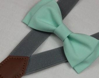 Mint green linen bowties,BOWTIE SUSPENDER SET,Mid gray/grey suspenders,infant bowties,toddler bowtie,boy bowtie,men bowties,wedding bowtie