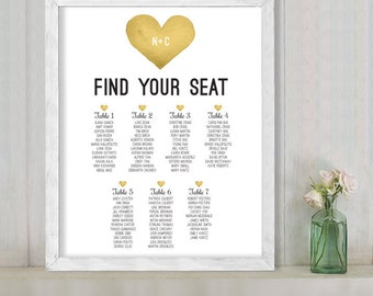 Wedding Seating Chart Sign / Yellow Gold Whimsical Watercolor Heart / Custom Seating Sign ▷ Printable File {or} Printed & Shipped